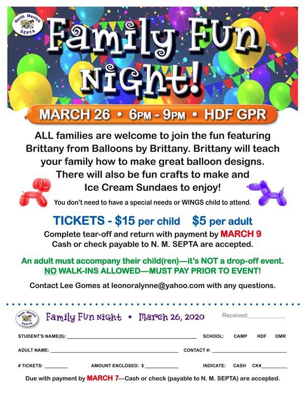 2019-20 Family Fun Night Event flyer