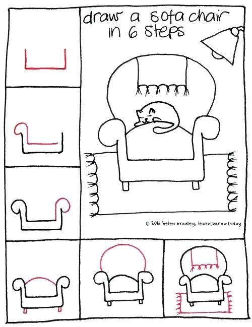 How-to-draw a sofa chair